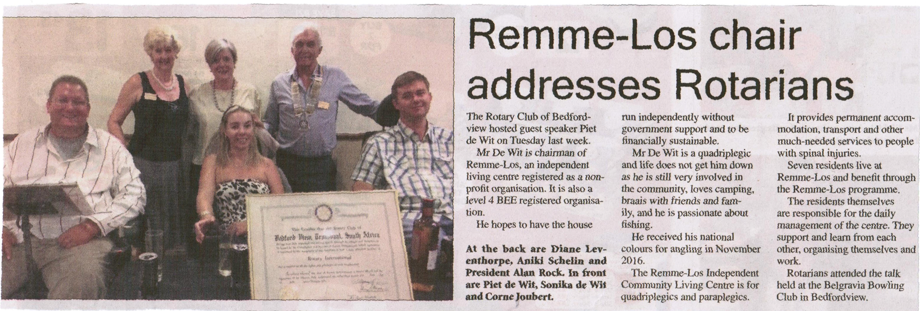 Remme-Los chair addresses rotarians